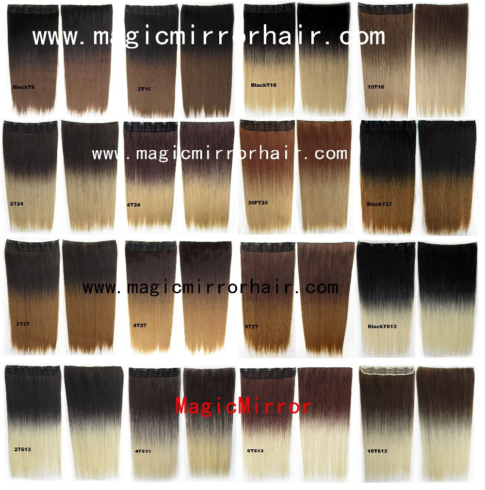 Dip Dye Ombre Hair Clip In On Straight Synthetic Color