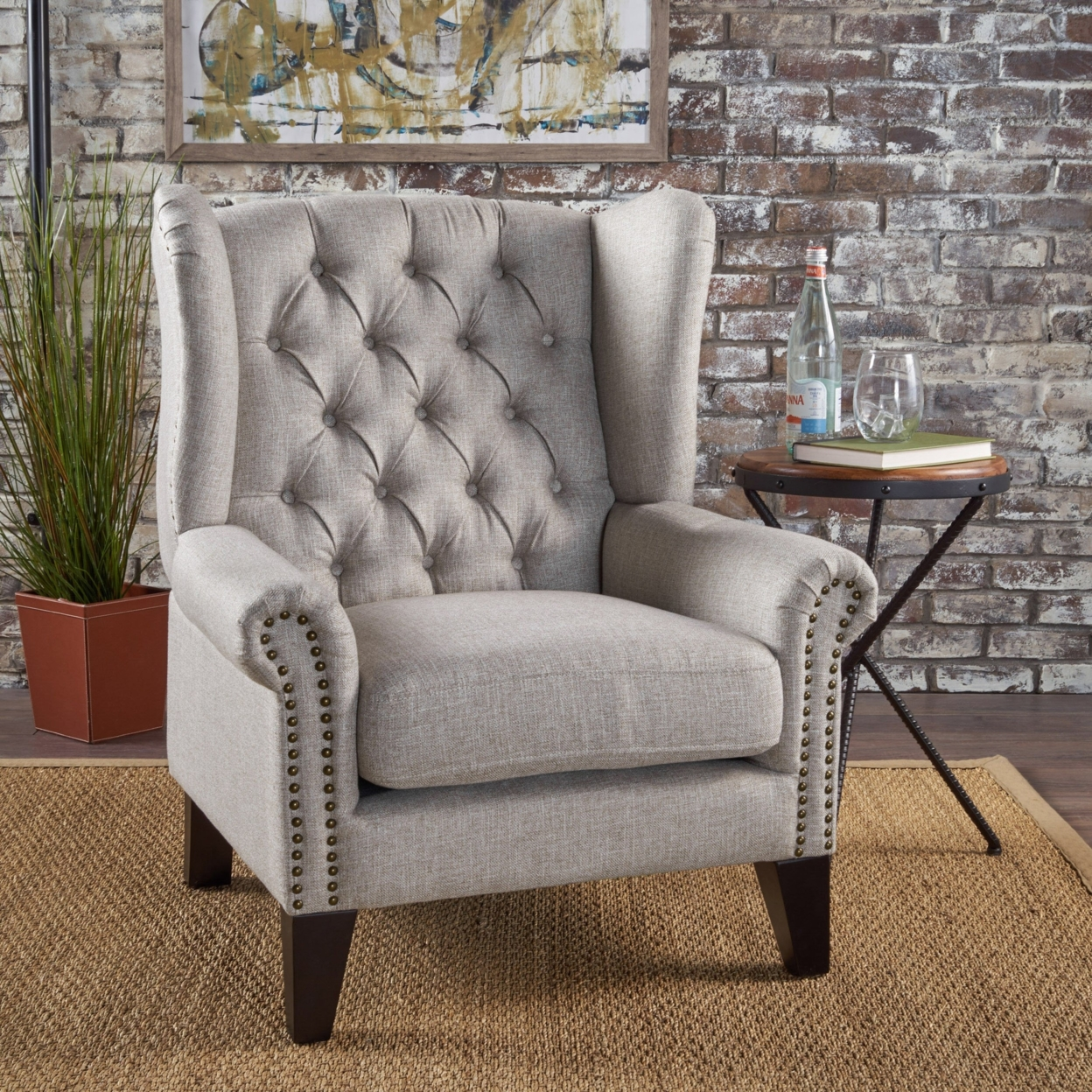 Lainie Traditional Tufted Winged Fabric Accent Chair anso contemporary teal color fabric accent chair