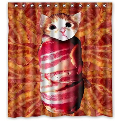 Bacon Rectangle Shower Curtain 66(W)x72(H) Inch With 12 Holes To Which  Rings Attach In Shower Curtains From Home U0026 Garden On Aliexpress.com |  Alibaba Group