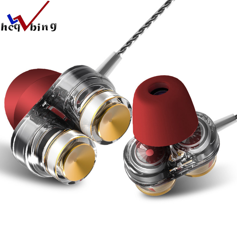 HCQWBING D1 In-ear Earphones with Microphone Dual Driver Phone Earphone Headset for Phone Headsets fone de ouvido mp3 xiaomi ggmm c700 in ear earphone fone de ouvido metal earphone stereo headset earphones with microphone hands free earphone for phone