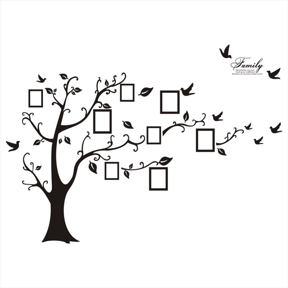 Large tree wall sticker photo frame family diy vinyl 3d wall large tree wall sticker photo frame family diy vinyl 3d wall stickers home decor living room wall decals tree big black poster in wall stickers from home amipublicfo Image collections