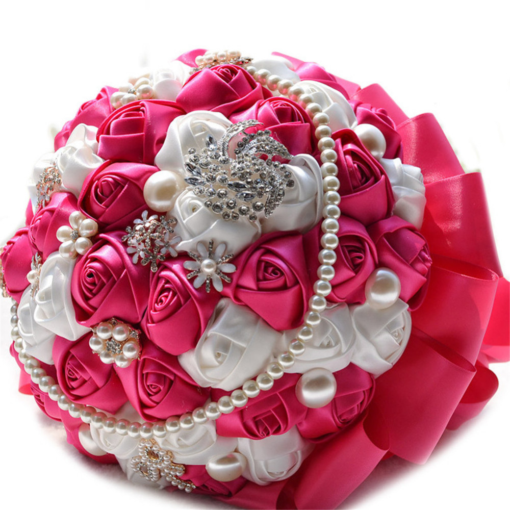 Wedding romantic bride hand held flowers bridal bouquets silk roses wedding romantic bride hand held flowers bridal bouquets silk roses dried flowers hand bouquet decoration for wedding izmirmasajfo