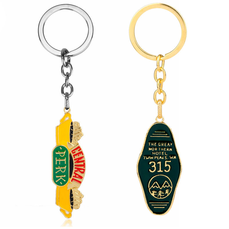 TV show Friends Keychain Central Perk Coffee Time Key Chain The Great Northern Hotel Room # 315 Twin Peaks Keyholder Trinket image