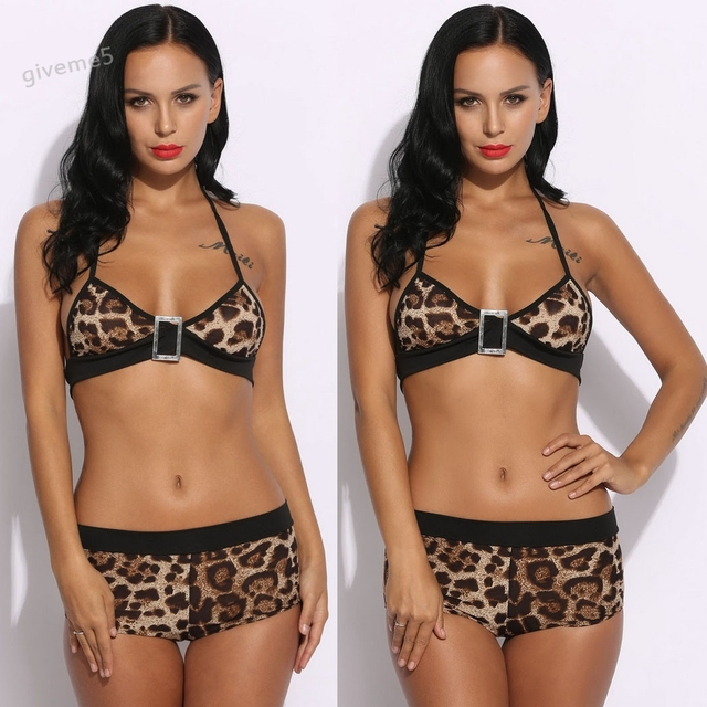 b08aae44ede2c Sexy Women Leopard Print Underwear Nightwear Sleepwear Bra and Panties Set  1 2 Cup Halter