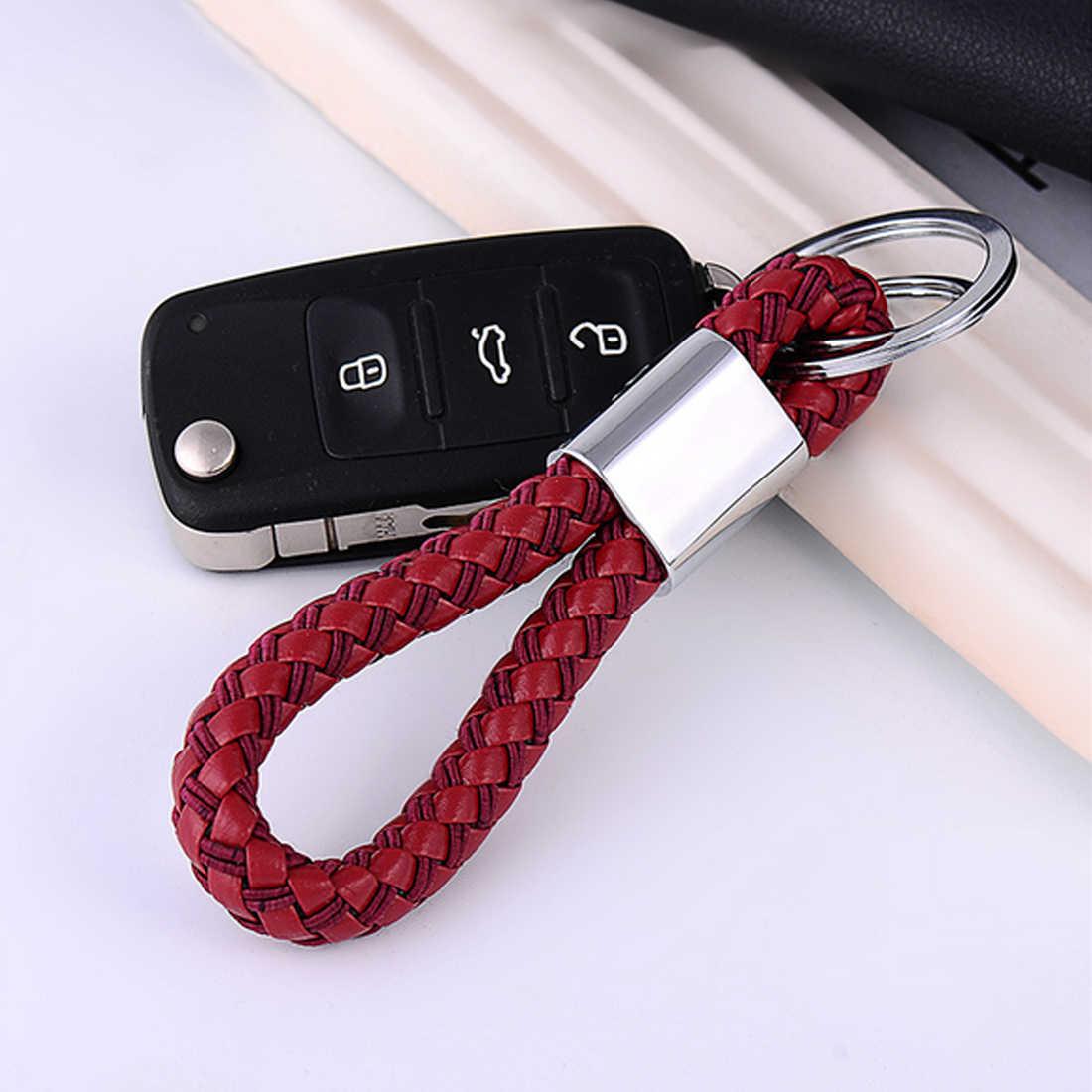 Gran oferta llavero de Metal de acero inoxidable para coche Chevrolet BMW llavero de cuero para HONDA KIA Citroen Dewtre