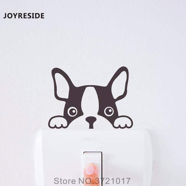JOYRESIDE French Bulldog Dog Funny Light Switch Small Wall Decal Vinyl Sticker Kids Art Room Home 640x640q70