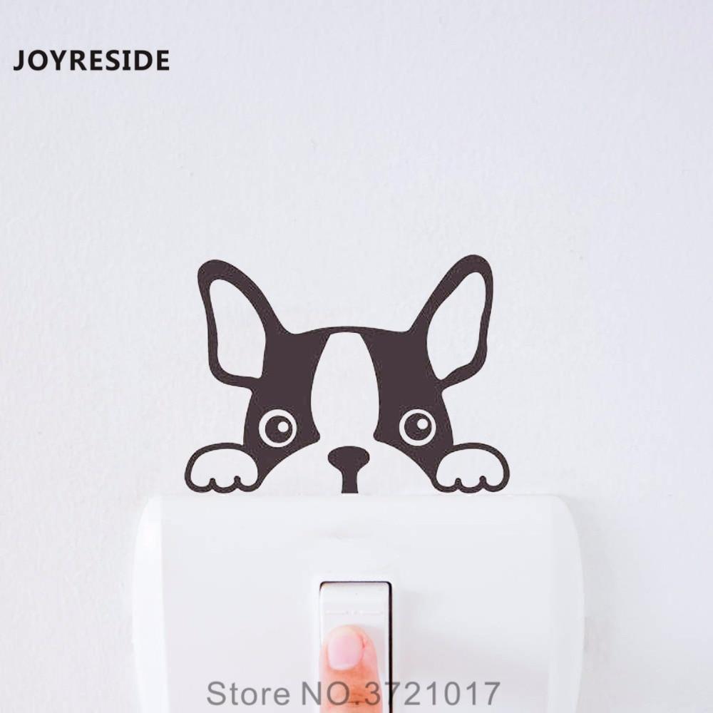 JOYRESIDE French Bulldog Dog Funny Light Switch Small Wall Decal Vinyl Sticker Kids Art Room Home Decor House Decoration XY154