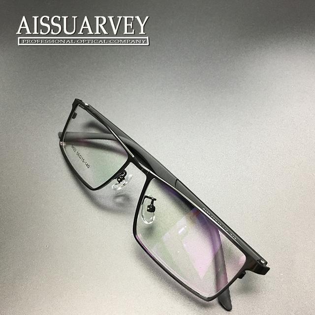 Homens óculos de armação óptica de metal leve de aro cheio de prescrição de óculos de moda com lentes claras quadrado simples designer hansome