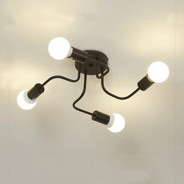 레트로 산업 로프트 북유럽 파이프 단 철 천장 조명 4 헤드 램프 홈 장식 레스토랑 다 이닝 카페 바 룸