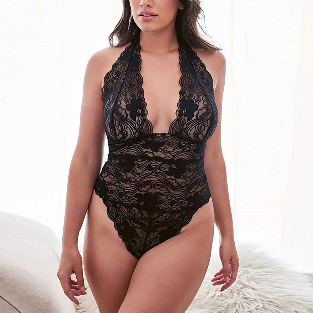 Women Sleepwear Plus Size Lace Teddy Sleepwear One-Piece Sexy Lingerie Backless Sexy Lady Nightwear Lingerie Sexy Hot Erotic