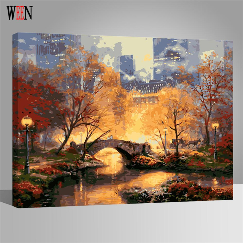 WEEN City Park Pictures Painting By numbers DIY Hand Painted Digital Bridge Wall Canvas Art Acrylic Coloring By Numbers 2017 in Painting Calligraphy from Home Garden