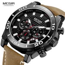 цена MEGIR Men's Leather Strap Army Sports Quartz Watches Waterproof Luminous Chronograph Wristwatch Man Relogios Clock 2094 Black онлайн в 2017 году