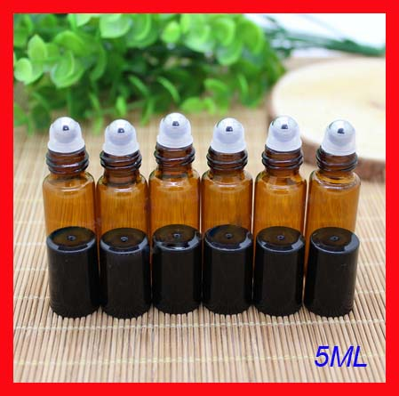 5ml amber roll on roller perfume atomizer sample bottles f essential oils roll-on refillable deodorant containers w black lid