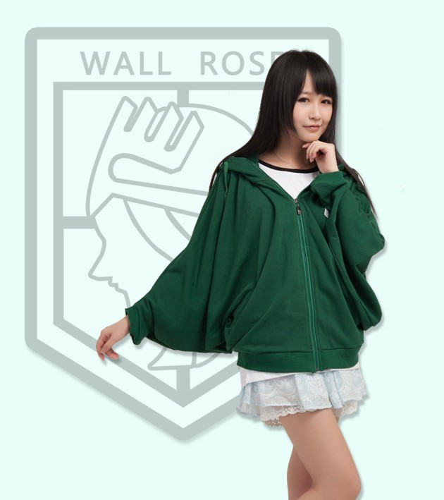 Green  Anime Attack on Titan Cosplay Hoodie Scouting Legion  bat Hooded Jacket Cotton Material
