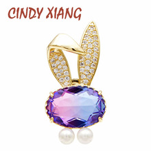 CINDY XIANG New Arrival Rainbow Cubic Zirconia Rabbit Collar Pin Unisex Women And Men Pins Cute Bonny Fashion Jewelry Copper