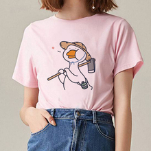 цены на Women Clothes 2019 Cartoon Funny Duck Print T Shirts Tops Aesthetic Short Sleeve O-neck Harajuku Kawaii T-shirt Graphic Tees  в интернет-магазинах