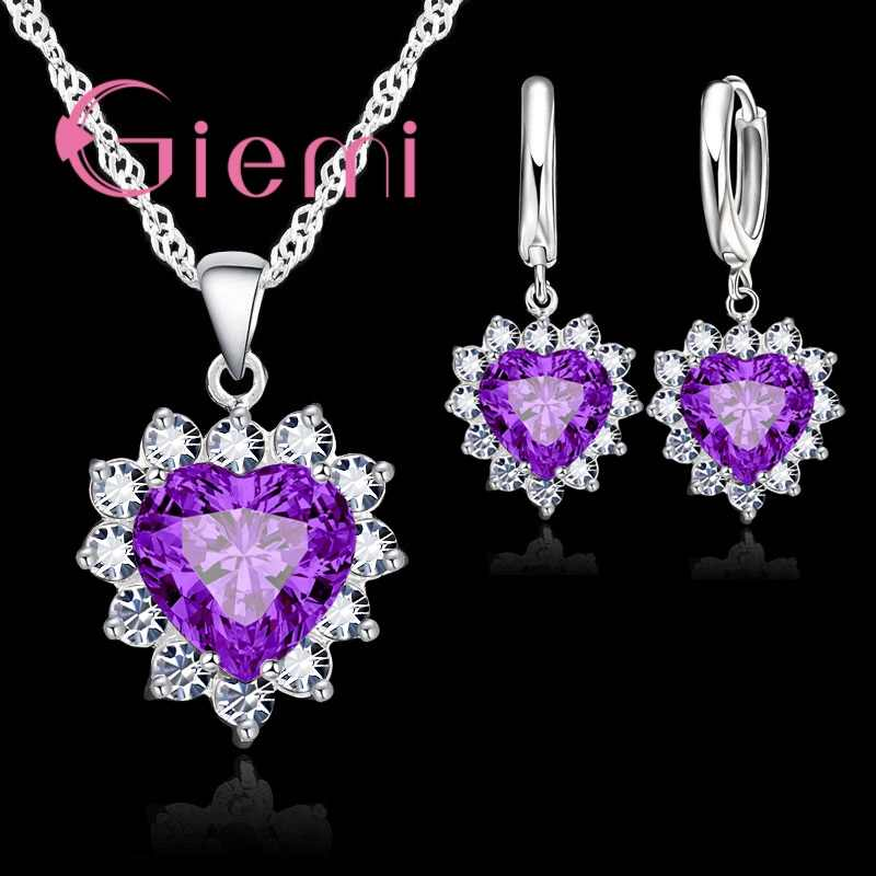 9 Colors Love Heart Crystal Pendant 925 Sterling Silver  Party Jewelry Sets Necklace Earrings For Women Valentine Gifts