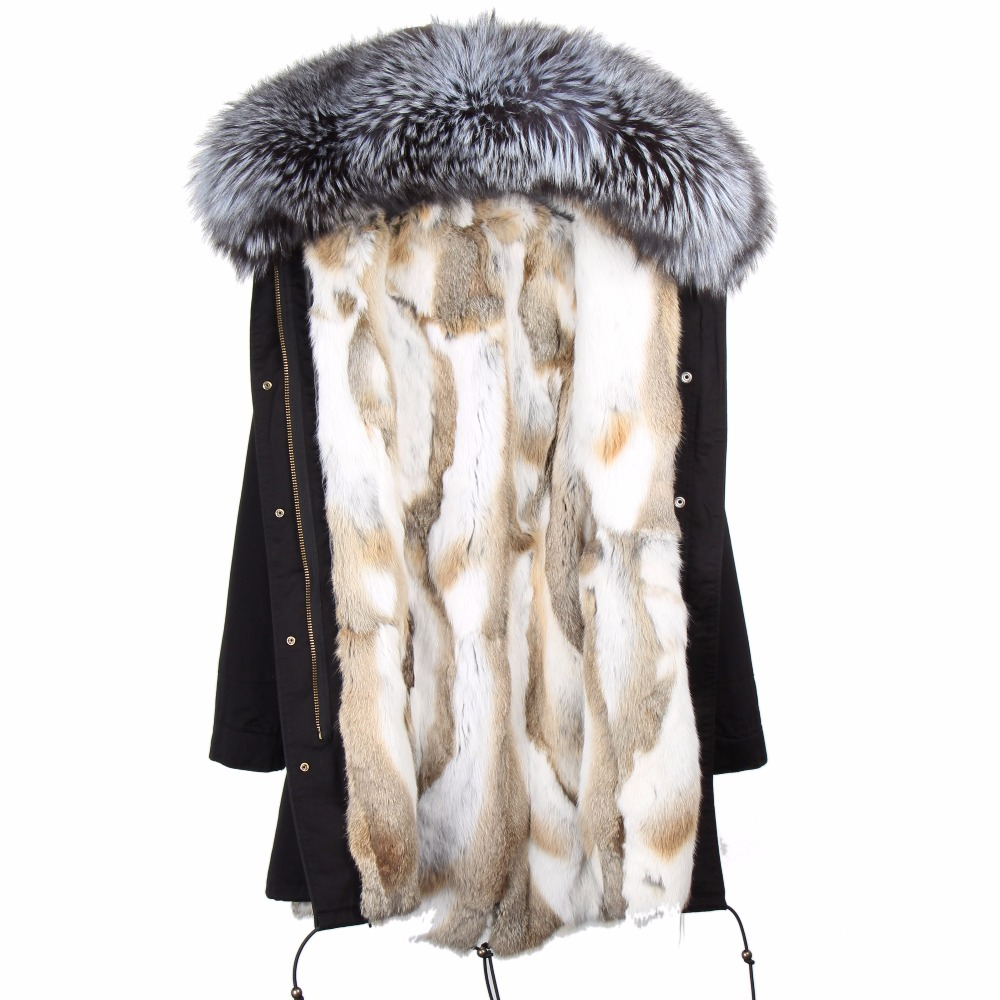 2017 Fashion women s rabbit fur lining hooded long coat parkas outwear army green Large raccoon