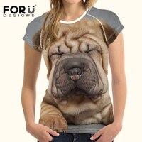 FORUDESIGNS T Shirt Women Tops Tees 3D Kawaii Shar Pei Printing T Shirt Women Harajuku Designer