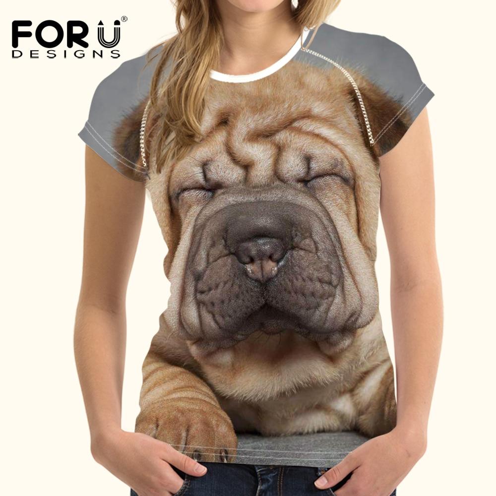 FORUDESIGNS t-shirt Women tops & tees 3D Kawaii Shar Pei Printing t shirt Women Harajuku Designer tshirts for Females Tee Couple