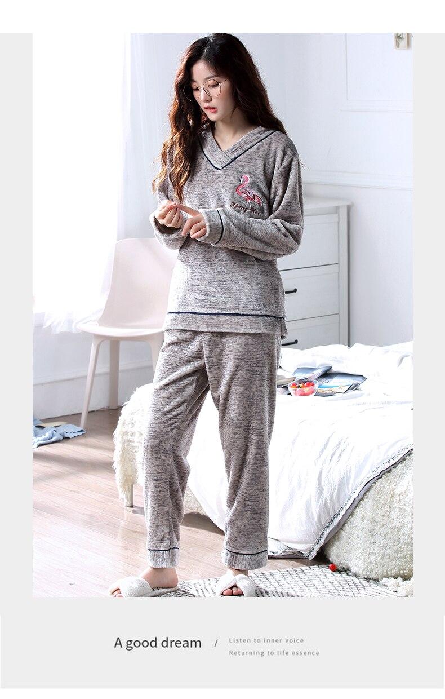 e02b7132f3 Thick Pyjamas Women Winter Warm Coral Fleece Women Pajamas Sets Soft Coral Fleece  Pajamas Female Winter Cartoon Homewear Sleep S
