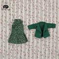 Подходит совместное Кукла Летний костюм, коричневое платье и маленький зеленый пиджак, только для 1/6 кукла, 30 см