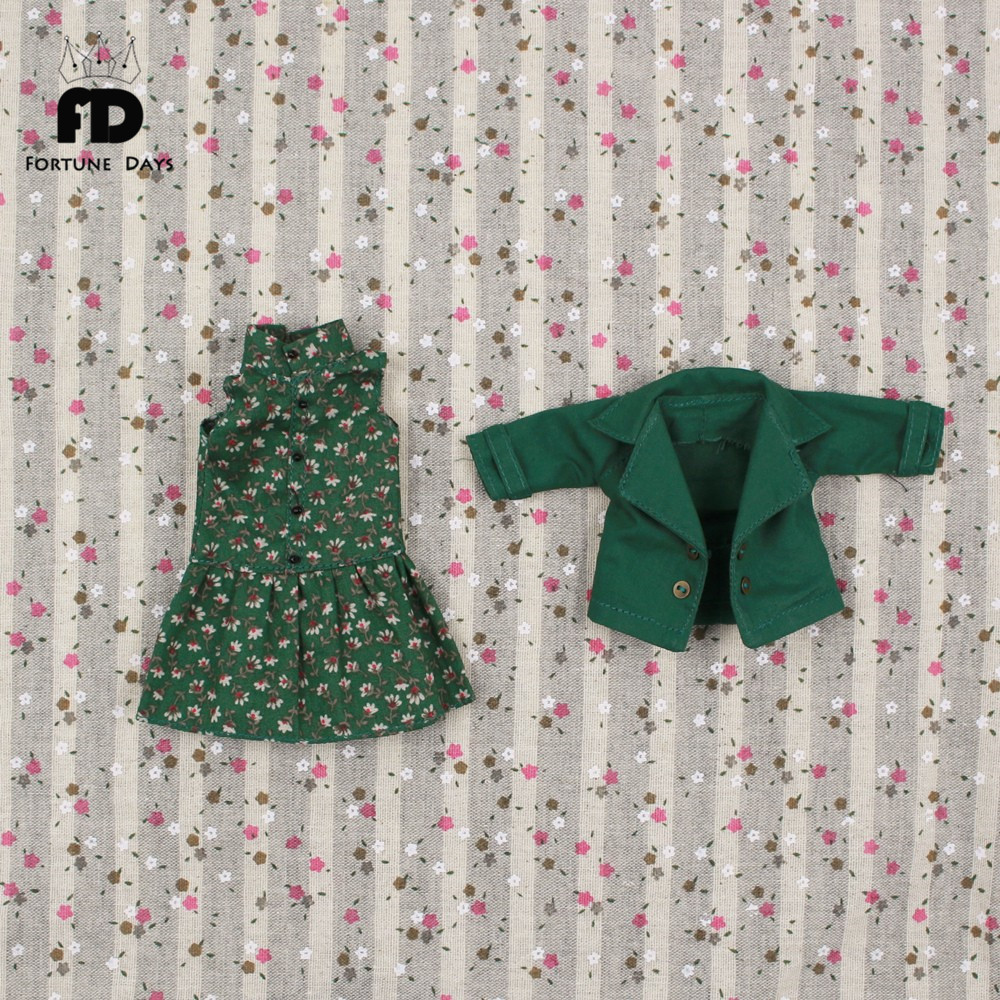 Suitable joint Doll Summer suit, brown dress and a small green jacket suit, only for 1/6 doll, 30cm цена и фото