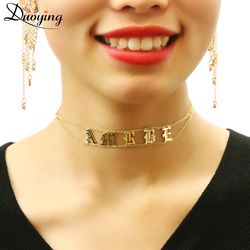 Duoying Old English Choker Personalized Name Plate Necklace Gothic Choker Dainty Chic Jewelry Fascinating Necklace for Etsy