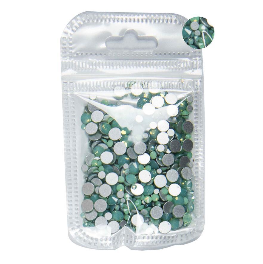 350 шт, 5 грамм, смешанные размеры, ss3-ss30, синий/зеленый/розовый/белый опал, 3D хрустальные стразы для дизайна ногтей, плоские с оборота стеклянные украшения для ногтей - Цвет: Green Opal