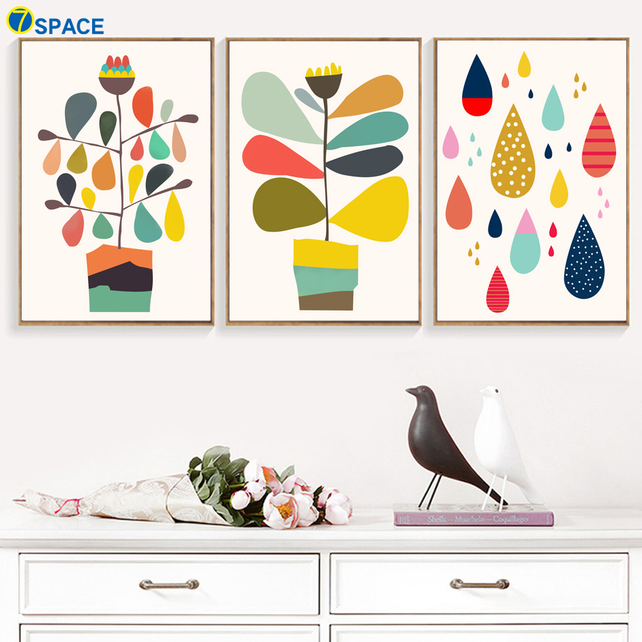 7-Space Modern Colorful Cartoon Plant Wall Art Print Canvas Poster Pictures Painting For Kids Room Baby Decor