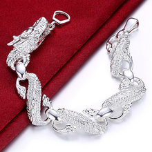 New Arrival 925 Silver Color Bracelet Bangle Cuff Men And Women Dragon Bracelet 925 Silver Fine Jewelry Party Christmas Gift(China)