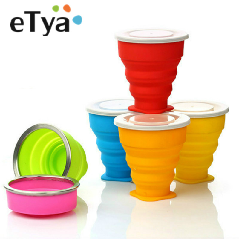 ETYA 1PC Silicone Folding Cup Creative Telescopic Wash Gargle Portable Collapsible Kitchen Outdoor BBQ Camping Travel Cup