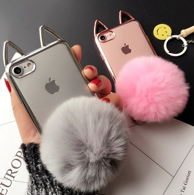 New Fashion Classes Deluxe Plating Soft TPU Lovely <font><b>Cat</b></font> Ears Fur Fluffy Ball Cover <font><b>Case</b></font> For <font><b>iPhone</b></font> X 6 6S 6S Plus 7 7Plus <font><b>8</b></font> 8Plus image
