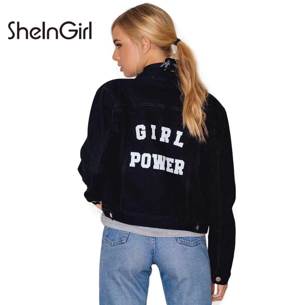 SheInGirl Solo Pecho Mujeres Bomber Jacket Letter Print Punk Chaqueta de la Capa