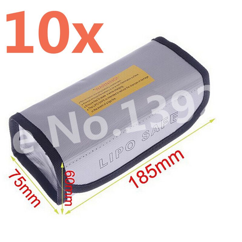 10Pcs Arrowmax RC Square LiPo Safe Bag Battery Safety Li-Po Protect Bag Pouch Safe Guard Charge Sack 185 X 75 X 60 mm AM-199502