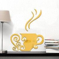Xícaras de café de lazer criativo tv fundo adesivos de parede funlife pasta espelho acrílico tridimensional adesivos de parede ms361005