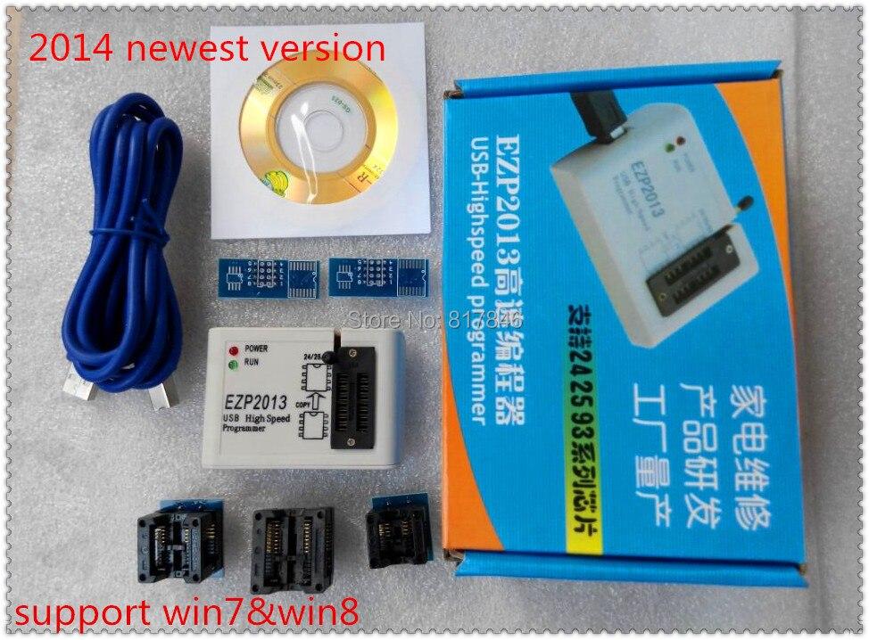 Envío gratuito nueva EZP2013 programador USB de alta velocidad SPI programador apoyo win7 y 8 24 25 93 EEPROM 25 flash bios chip + 5 adaptadores