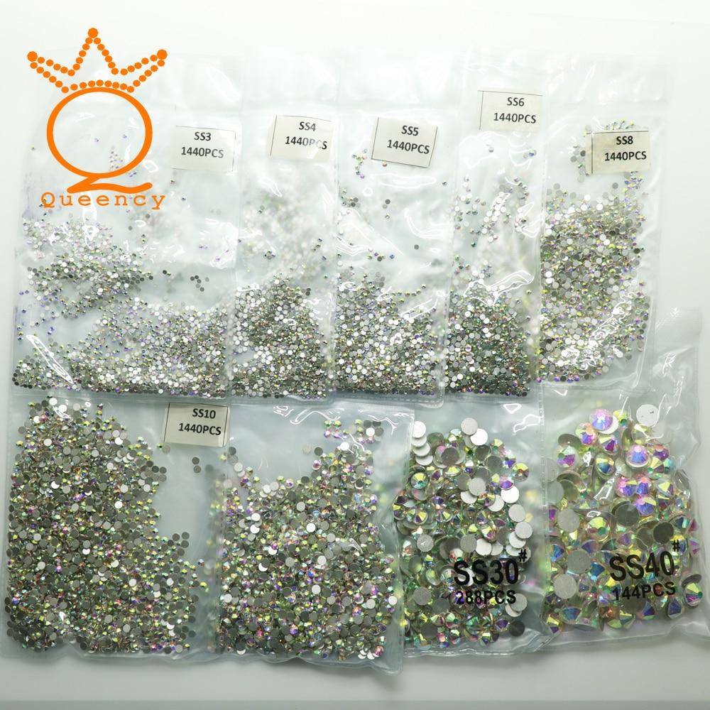Detail Feedback Questions about Super Glitter SS3 SS30 1440pcs Crystal AB  Flat Back Nail Rhinestone 3D Non HotFix Nail Art Decoration Glass Manicure  ... b0d2fc9c525d