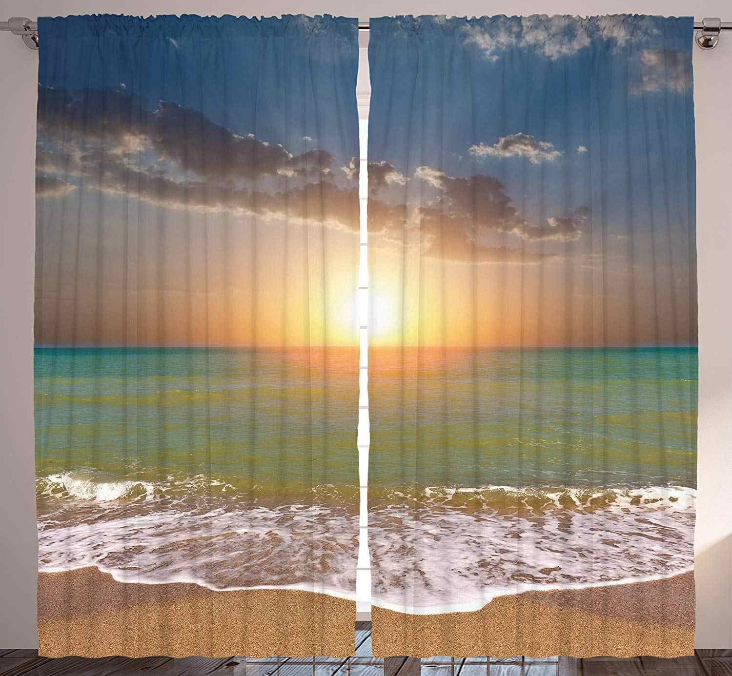 Sea Decor Curtains for Living Room Sunset Ocean Nautical Theme Pictures Home Bedroom Dining Room Curtain