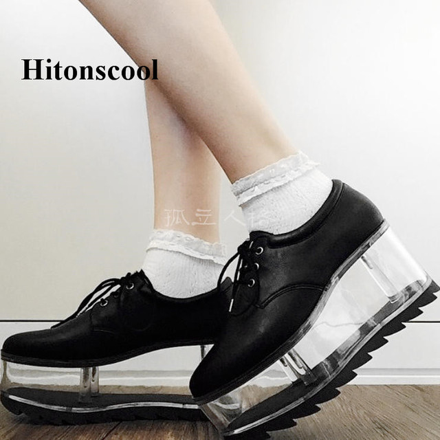 High Platform Woman Genuine Leather Lace Up Casual Flats Shoe Round Toe Sneakers Shoes