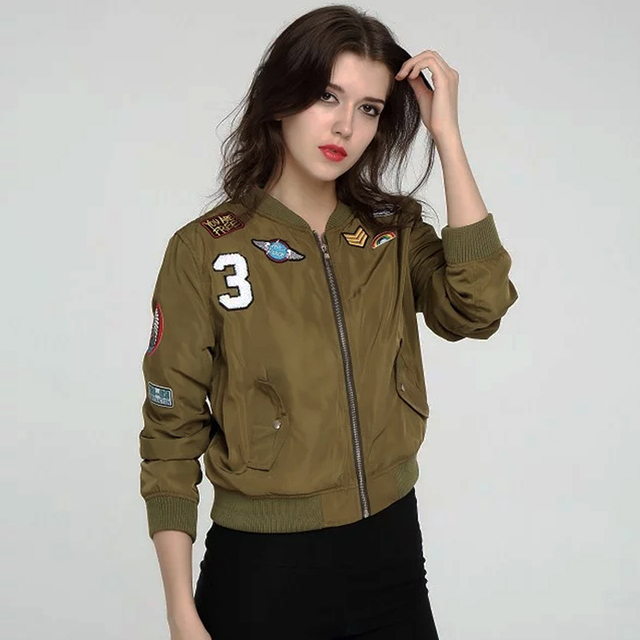 Aliexpress.com : Buy Women Casual Appliques badge Bomber