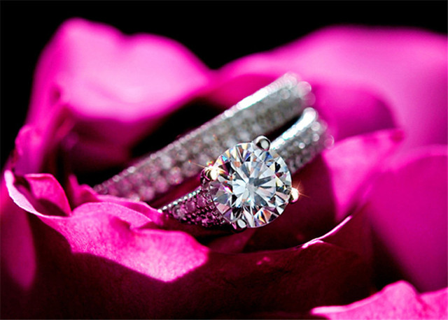 CC 925 Silver Rings For Women Simple Design Double Stackable Fashion Jewelry Bridal Sets Wedding Engagement Ring Accessory CC634 5