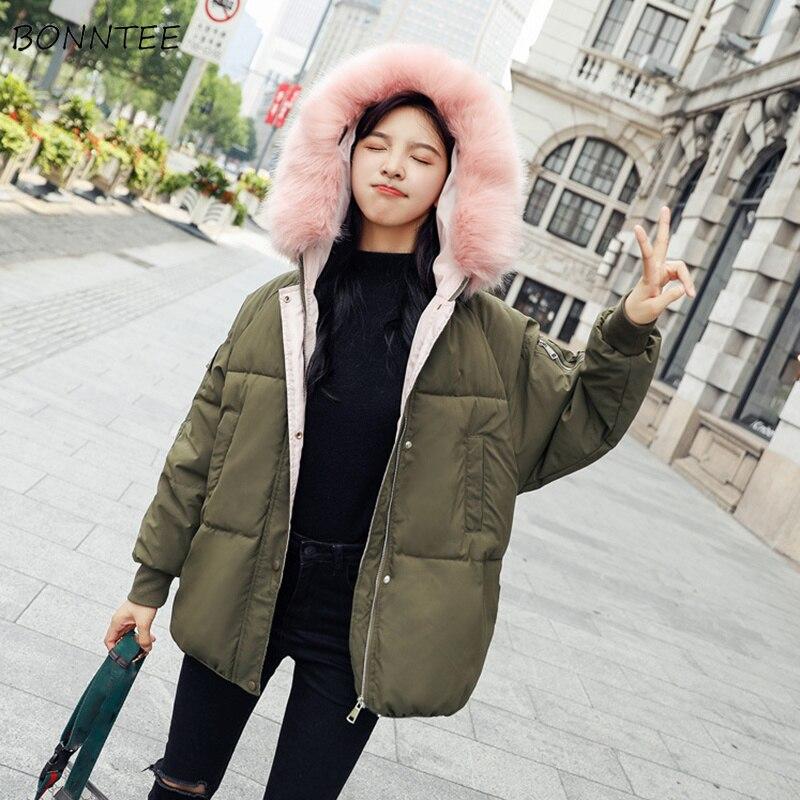 Parkas Women Letter Printed Leisure Simple Hooded Short Coat Loose Trendy Zipper Womens Thickening Korean Winter Parka Coats