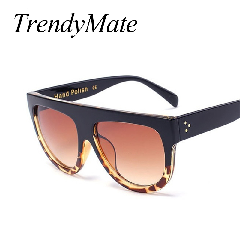 Fashion Sunglasses Women Brand Design Gradient Sun Glasses Female Rivet Shades Flat Oversize Shades Sunglass UV400