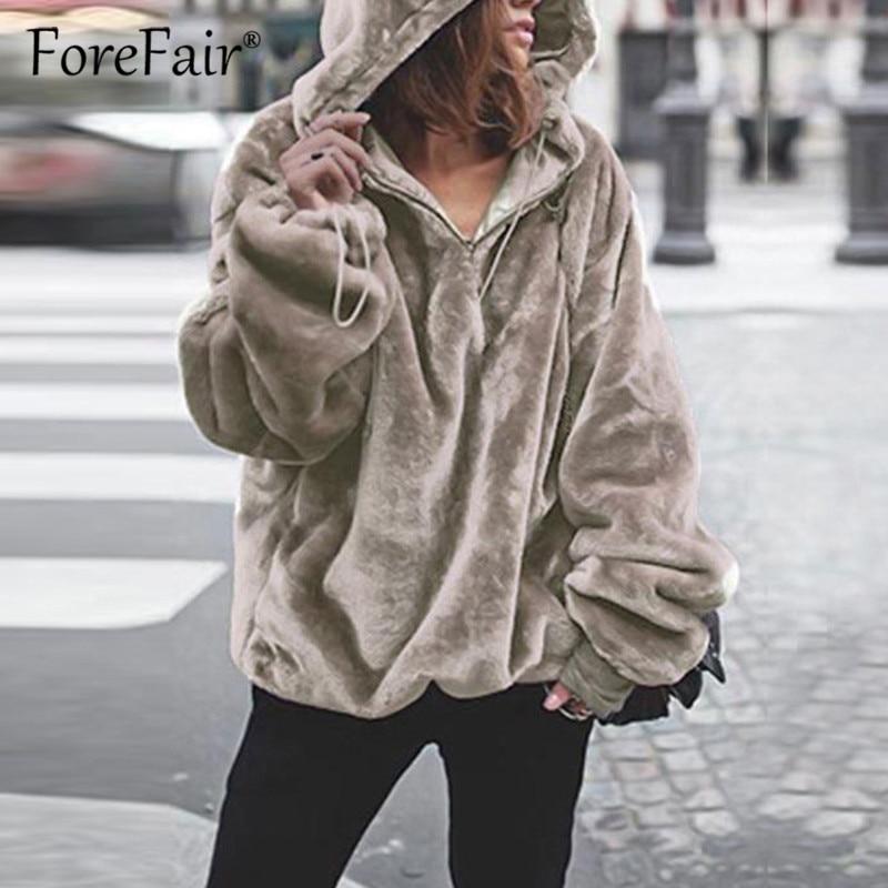 Women's Clothing Women Hoodies Sweatshirts 2019 Winter Warm Faux Fur Coats Autumn Long Sleeve Hooded Top Solid Fur Jackets Oversized Outerwears Jackets & Coats