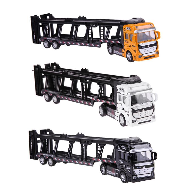 1:48 Pull Back Alloy Super Truck Kids Toy Vehicle Simulation Transporter Model Car Toys Children Gift for Boy 1 32 suv ml63 simulation toy car model alloy pull back children toys genuine license collection gift off road vehicle kids toy