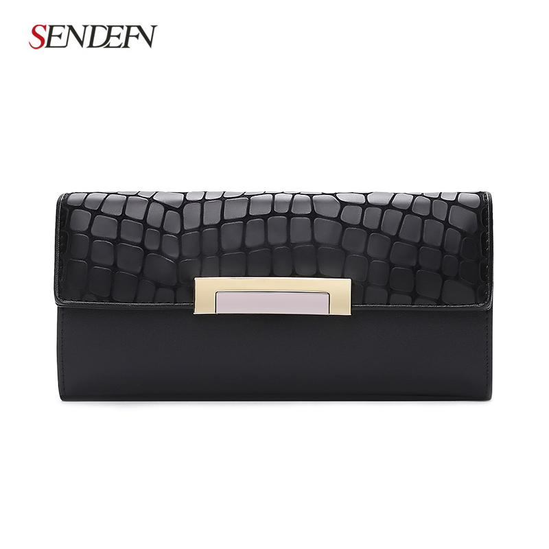 Hot Sale Fashion Split Leather Long Fashion Wallet Women Wallets Designer Brand Clutch Purse Lady Wallet Female Card Holder dandystyle