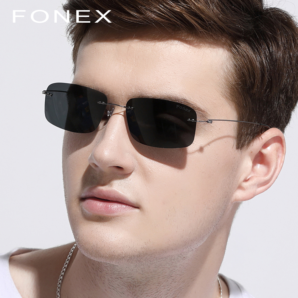 8c9dc577ec1 Detail Feedback Questions about Rimless Sunglasses Polarized Titanium Men  Brand Design Light Frameless Square Sun Glasses for Women korea Screwless  Eyewear ...