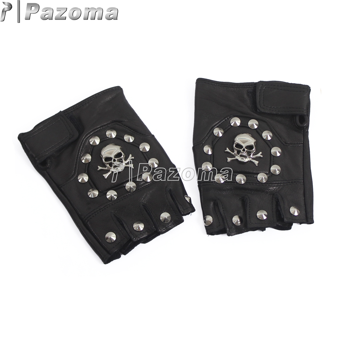 Buy leather bike gloves - Pazoma Uw27 Punk Handmade Gothic Motorcycle Biker Fingerless Leather Pair Glove Skull With Stud Chain