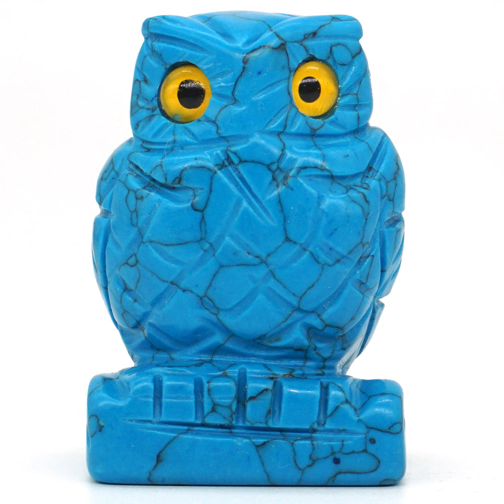 2 Nice Blue Turquoise Owl Figurine Crystal Healing Reiki
